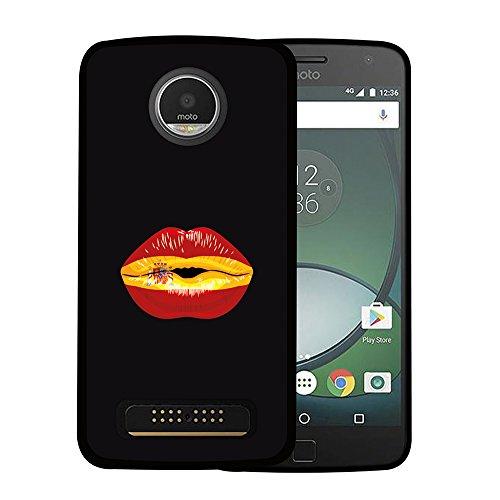 WoowCase Funda para Motorola Moto Z Play, [Motorola Moto Z Play ] Silicona Gel Flexible Labio Bandera España, Carcasa Case TPU Silicona - Negro