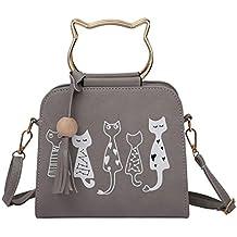 07b3cafef zarupeng-bolsas de hombro con borla de patrón de gato