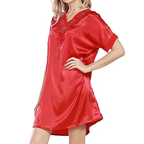 YUYU Des femmes Chemises de nuit Satin Chemises Feuillet Soie Manches courtes Vêtements de nuit china red