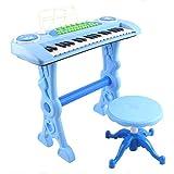 deAO Teclado Electronico Infantil - Piano Karaoke 37 Teclas con Microfono, Taburete, Variedad de Sonidos, Rítmos y Melodias (AZUL)