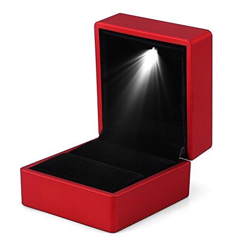 Boîte à Bague à la Mode LED Lumineux Coffret Étui de Rangement d'Anneau Porte Bijoux (Rouge)