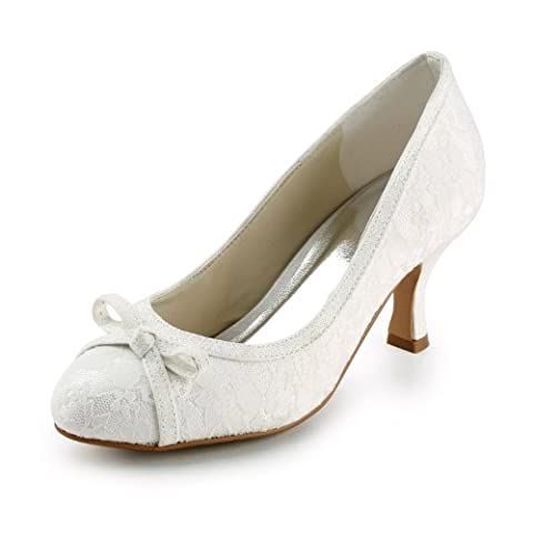 Jia Jia Women¡¯s Ladies Prom Bridal Wedding Shoes Size Women's Lace Satin Spool Heel Closed Toe Pumps With Bowknot Color Ivory Size
