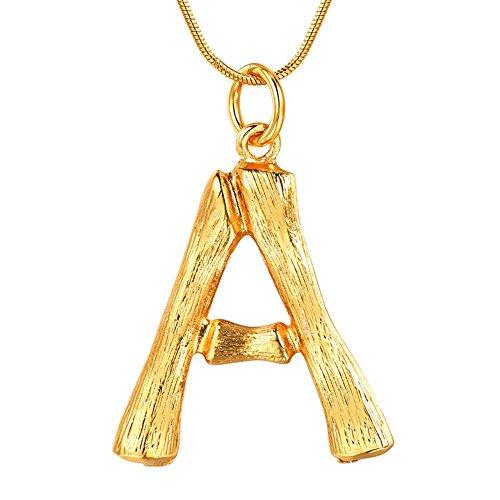 FOCALOOK Buchstabe A Halskette Gelbgold überzogend Damen Anhänger Initiale Groß Bambus Stil Collier Schlangenkette 1,2mm 55cm verstellbar Coole Schmuck für Mädchen in Gold