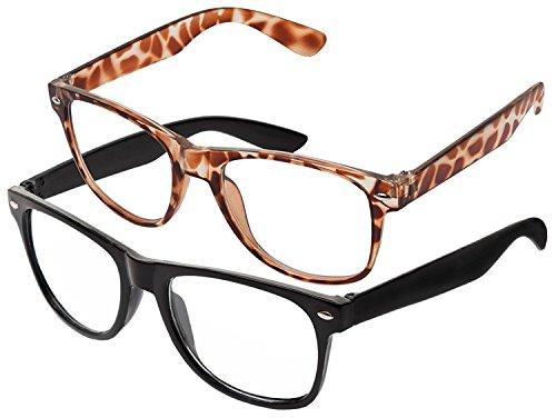 RetroUV® Klassische Brillen 80er Jahre Retro Große Horn Umrandeten Sonnenbrille Stil, Schwarz + Leopardenfell Klar,