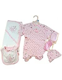 8d23371b3068 ... Just Too Cute. Beautiful Baby Girls 7 Layette Gift Set in a bag All in  One Vest Bib Hat