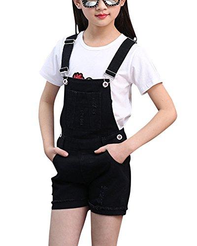 Latzhose Kinder Mädchen Kurze Hosen Shorts Bermuda Sommerhose Overall Einteiler Jumpsuit Schwarz XL