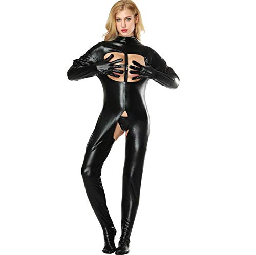 SHANGLY Frau Latex Catsuit Kunstleder Offene Büste Zurück zum Schritt 2-Wege-Reißverschluss Sexy Fetisch Knechtschaft Bodysuit Kostüme,M