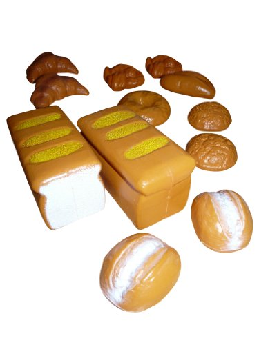 Spielzeug Bäckerwaren Set, A103, 12 tlg. Set für den Kaufmannsladen - Brot, Brötchen, Kuchen, leckeres Backzeug, Geschenk-idee für Jungen und Mädchen für Weihnachten und zum Geburtstag, Geburtstags-Geschenk