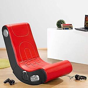 Monsterzeug Soundsessel für Gamer, roter Sessel mit integrierten Lautsprechern, Musiksessel aus Kunstleder, Zockerstuhl mit Musikboxen, Schwarz-rot