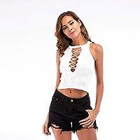 BINODA Camisole Camisas de Punto de Mujer Sexy Playeras Playeras para Verano (Color : Blanco, Size : M)