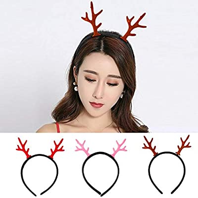 Amaone 3 Pack Christmas Headband, Reindeer Antler Hair Hoop Headwear Lovely Head Band Costume Accessories Decoration For Kids And Adults Xmas Holiday Party Decor