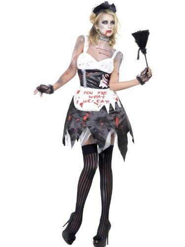 Smiffy's 23286S - Zombie Französisch Maid Kostüm mit Kleid Latex Kragen Kopfstück und Schürze, (Kostüme French Up Dressing)