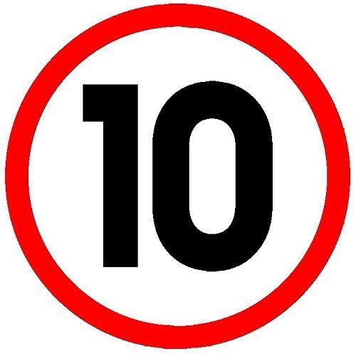 10 KM/H GESCHWINDIGKEITSSCHILD Größe 1 unbiegsames,wetter- und wasserresistentes Plastik 200x200x3mm [Schilder] [Hardcover] [2015] Shire Oak Graphics
