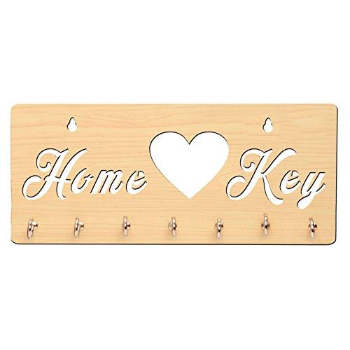 Sehaz Artworks DIY 7 Hooks Wooden Key Holder  Size: 25 cm x 11 cm: Color: Beige   HomeKey