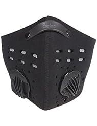 Máscara activa ciclo del carbono de la media cara de la ciudad contra la contaminación por polvo Haze viento con correa ajustable para Velrco deportes al aire libre (Negro)