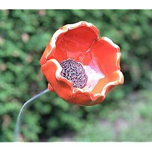 Blume Mohnblume Gartenstecker Rot Keramik Frostfest Unikat