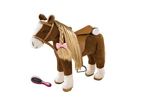 Götz 3402375 Brown Beauty Kämmpferd - braunes Plüschpferd mit einem Stockmaß von ca. 37 cm und einer gesamten Höhe von ca. 52 cm für Stehpuppen - für Kinder ab 3 Jahren