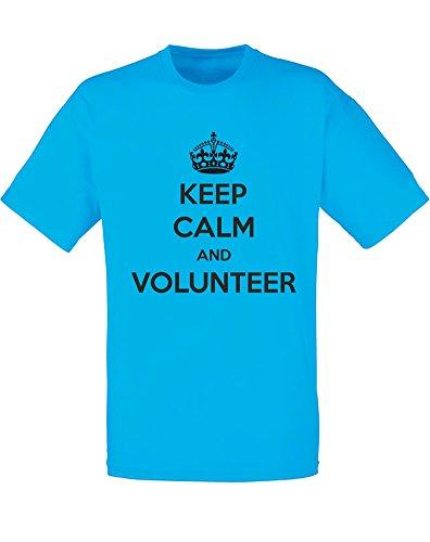 Brand88 - Keep Calm and Volunteer, Mann Gedruckt T-Shirt Azurblau/Schwarz
