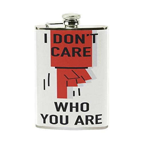 Alaza I Don 't Care Who You Are Mittelfinger Edelstahl Flachmann 8OZ Heavy Duty-Likör Fläschchen PU Leder verpackt für Shot Trinken Whisky Wodka Rum
