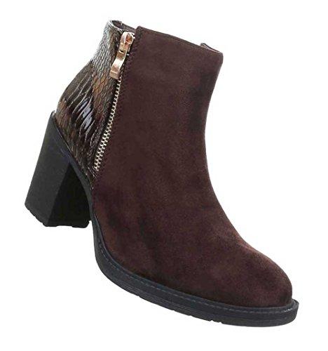 Damen Stiefeletten Schuhe Leicht Gefütterte Boots Schwarz Braun