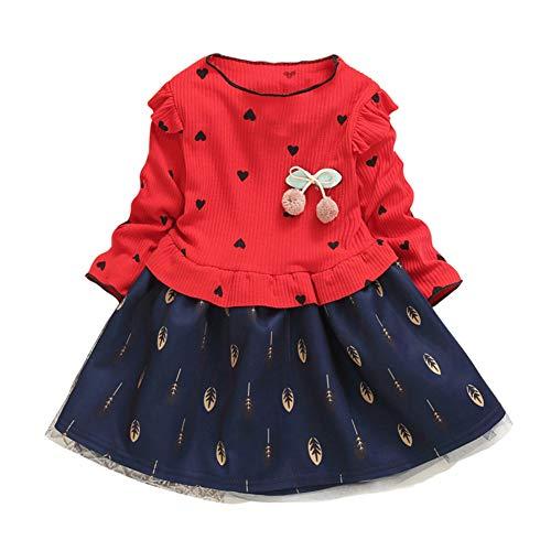 dchen T-Shirt Kleid Einteiliger Tüllrock Gedruckt Party Prinzessin Kleider 1-7 Jahre Kleinkind Kinder Nette Rüschen Langarm Fancy Dress ()