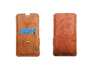 ATV Genuine Leather OCHRE Designer Pouch Case Cover For LG L70 D320N