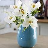 DOOLLAND Orchidee e Piante Artificiali,4Mazzo di Fiori Artificiali Bonsai casa centrotavola Decorazione Realistico realistica (Vaso Non Incluso) 12inch Infradito Colorati Estivi, con finte Perline