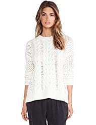 YOUJIA Femme Casual Loose col Rond Pull Tricot Sweater Tops Creux Chandail Taille unique
