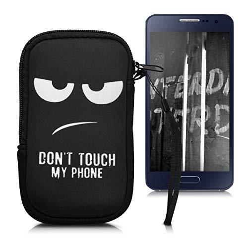 """kwmobile Handytasche für Smartphones M - 5,5"""" - Neopren Handy Tasche Hülle Cover Case Schutzhülle - Don't Touch My Phone Design Weiß Schwarz - 15,2 x 8,3 cm Innenmaße"""
