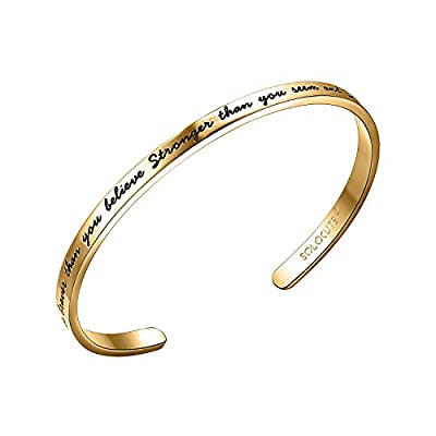 "SOLOCUTE Cuff Bangle Bracelet Engraved ""You are Braver than you believe Stronger than you seem and Smarter than you think"" Inspirational Jewelry"