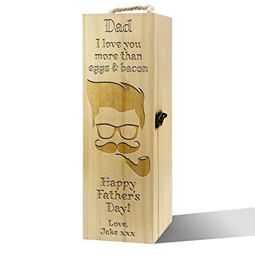 Twisted Envy personalisierbar Vater 's Day Eier und Speck Luxus Holz Wein Box -