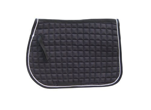 saddle-pad-quilted-black-color-with-white-piping-for-all-purpose