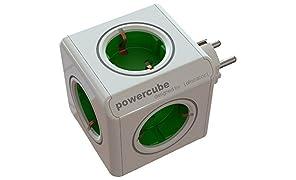 Allocacoc PowerCube Orginal grün Reiseadapter 5xSteckdose Mehrfachsteckdose 1128