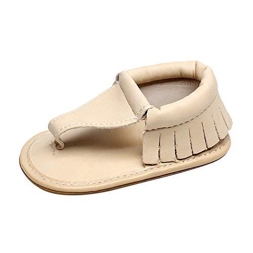 feiXIANG Baby Mädchen Sandalen Solide Schuhe Outdoor Flip Flops Flach Quaste PU Lederschuhe Weich Sneaker Klassisch Zehentrenner (Beige,18M=14) -