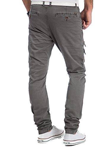 Cargohose Herren Hose Herrenhose Jeans Denim Zipper Grau