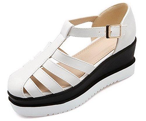 VogueZone009 Damen Schnalle Pu Leder Rund Zehe Mittler Absatz Rein Pumps Schuhe Weiß