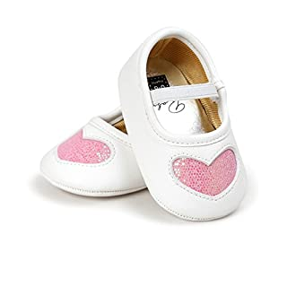 Auro Mesa Newborn Baby Girls Sweet Cute Heart Shoes First Walking Shoes (12-18M, Pink)