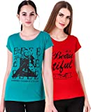 NIVIK Women's Printed Cotton Summer wear t-Shirts Combo of 2 (Green, Red) (X-Large)