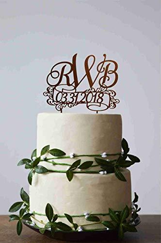 Tortenaufsatz mit drei Buchstaben, 3 Initialen Hochzeitstorte, Monogramm Tortenaufsatz, Hochzeit, Monogramm (Buchstaben-monogramm 3)