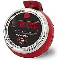 Metronic 477024 Cherry Radio réveil FM USB projection double alarme avec fonctions sleep/snooze et piles de sauvegarde de l'heure - Rouge