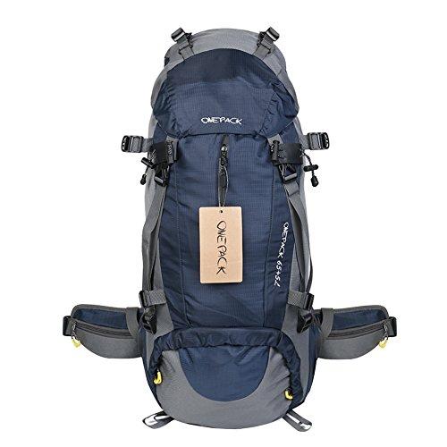 70 Liter Outdoor Trekkingrucksäcke mit Regenabdeckung, YUMOMO Herren und Damen Wasserdichter Wanderrucksäcke Camping Rucksäcke Sport für Die Reise Bergsteigen marineblau