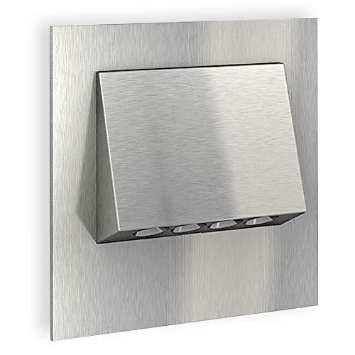 SSC-LUXon® LED Wandleuchte 230V Einbau NARVA Edelstahl gebürstet 1W - Downlight zur Treppen, Stufen & Akzentbeleuchtung