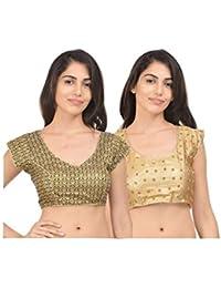 RZLECORT Women's Silk Cotton Embroidered Blouse (RK-B-BL_0650-RK-G-MULTI-BL_0650_L_Golden) (Pack of 2)