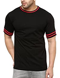 Gritstones Stylish Black/Red Cotton Round Neck T-Shirt