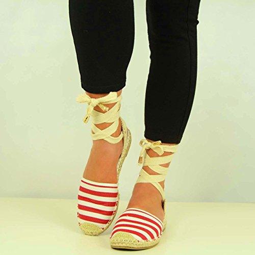 Cucu Fashion - Strap alla caviglia donna Rosso (Red Striped)