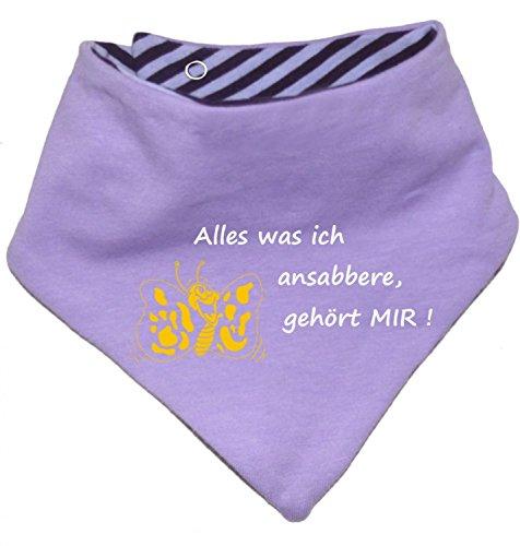 KLEINER FRATZ Kinder Wendehalstuch uni/gestreift (Farbe flieder-pflaume (Gr. 1 (0-74)) Alles was ich ansabbere gehoert mir