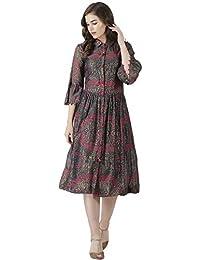 Label RITU KUMAR Women's Body Con Knee-Long Dress (LSDCVL70S00N18051637_Grey_Small)
