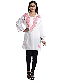 Ethnic Bliss Lifestyles Fully Handmade Festival Special Exclusive Chikankari White With Pink Thread Embroidery Kurti