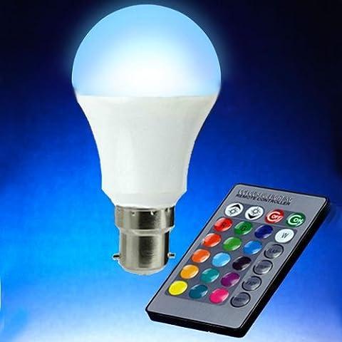 Magicmoon Ampoule LED RGB 16couleurs changeantes avec télécommande infrarouge Culot B2285-265V 12W