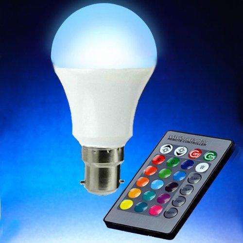 Magicmoon B22-Lampadina a LED da 15 W, RGB, 16 colori, colore dimmerabile che cambia colore, con luce a LED multicolore, con telecomando IR, 360°, angolo fasci di luce a LED 85-265 V per decorare casa/Bar/festa/KTV Mood